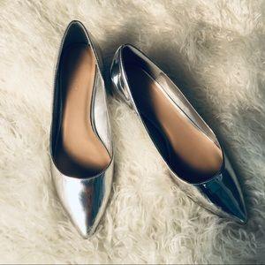 Aldo   Silver Mirrored Block Heel Pumps